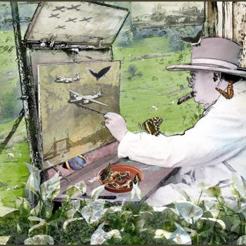"""Digital Arts titled """"Churchill's Butterf…"""" by Jeff Key, Original Art, Collages"""