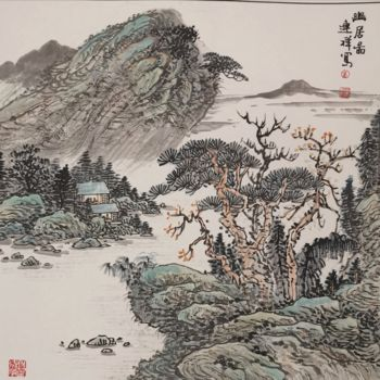 """Painting titled """"Seclusion"""" by Lianxiang Jiang 姜连祥, Original Art, Pigments"""