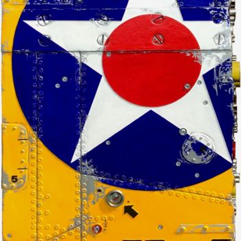 """Painting titled """"BOMBER YELLOW B-25…"""" by Jerome Chauvin (JICE), Original Art, Acrylic Mounted on Stretcher frame"""