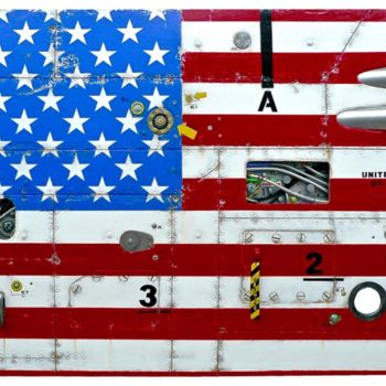 """Painting titled """"CABIN AMERICAN FLAG"""" by Jerome Chauvin (JICE), Original Art, Acrylic"""