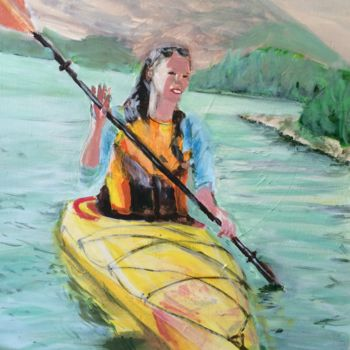 """Painting titled """"Canoeist in the wat…"""" by Torquil, Original Art, Acrylic"""