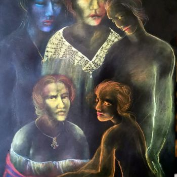 """Drawing titled """"colorful family..Pa…"""" by Biro, Original Art, Pastel"""
