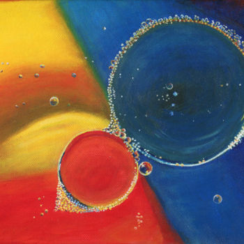 """Painting titled """"Bubbles-Red and Blue"""" by J S Ellington, Original Art, Acrylic"""