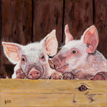 """Painting titled """"Two Little Oinkers"""" by J S Ellington, Original Art, Acrylic"""