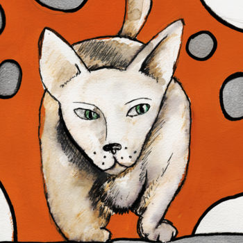 """Drawing titled """"Chat couche"""" by Karine Garelli, Original Art,"""