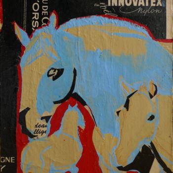 Collages Cheval, collages, fauvisme, œuvre d'art par Laurence Poitrin