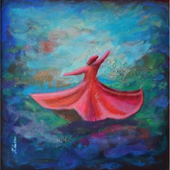 """Painting titled """"Pink Red Whirling D…"""" by Khusro Subzwari, Original Art, Acrylic"""