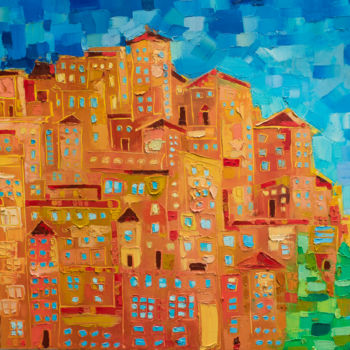 """Painting titled """"Manarola in Cinque…"""" by Mihail Ivanov, Original Art, Oil Mounted on Wood Panel"""