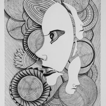 """Drawing titled """"Thinking of You Dra…"""" by Mihail Ivanov, Original Art, Ink"""
