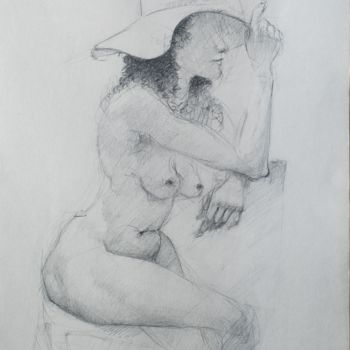 """Drawing titled """"Nude Lady With A Hat"""" by Mihail Ivanov, Original Art, Pencil"""
