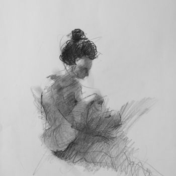 """Drawing titled """"Nude Woman Figure D…"""" by Mihail Ivanov, Original Art, Pencil"""