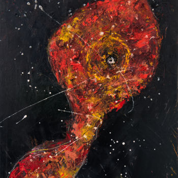 """Painting titled """"Red Shadow VII: Sun…"""" by Mihail Ivanov, Original Art, Oil Mounted on Wood Panel"""