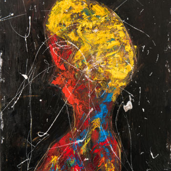 """Painting titled """"Red Shadow X: Boy"""" by Mihail Ivanov, Original Art, Oil Mounted on Stretcher frame"""