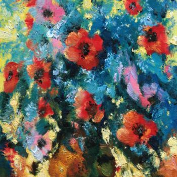 """Painting titled """"Bouquet in blue"""" by Mark Kremer, Original Art, Oil"""