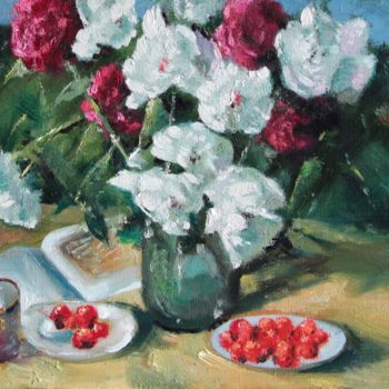 """Painting titled """"Peonies and Strawbe…"""" by Mark Kremer, Original Art,"""