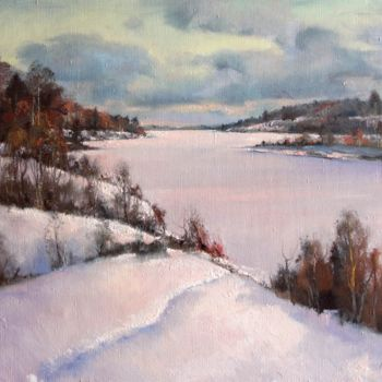"""Painting titled """"Evening on the lake"""" by Mark Kremer, Original Art,"""