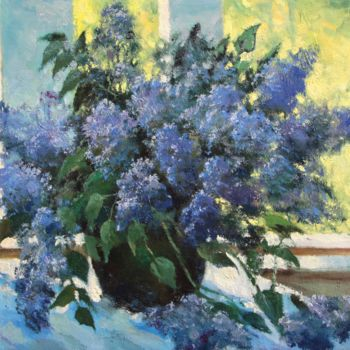 """Painting titled """"Lilac on the window"""" by Mark Kremer, Original Art, Oil"""