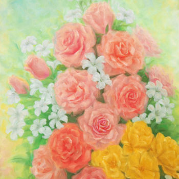 """Painting titled """"Pink and Yellow Ros…"""" by Kyoko Yamaji, Original Art, Oil Mounted on Wood Panel"""