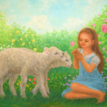 """Painting titled """"Little girl and you…"""" by Kyoko Yamaji, Original Art, Oil"""