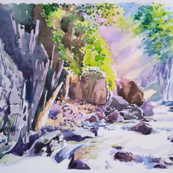 """Painting titled """"Mysterious forest"""" by Olga Larina, Original Art, Watercolor"""