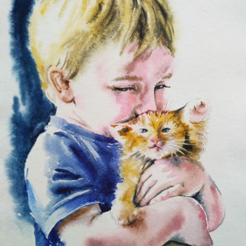 """Painting titled """"Little boy with kit…"""" by Olga Larina, Original Art, Watercolor"""