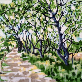 """Painting titled """"Tree-lined Path"""" by Laura K Smith Paintings, Original Art, Acrylic"""