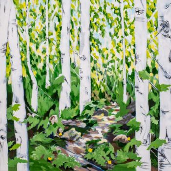 """Painting titled """"Sunny Birches"""" by Laura K Smith Paintings, Original Art, Acrylic Mounted on Stretcher frame"""