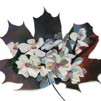 """Painting titled """"Cherry Blossom #1"""" by Leo Schteinberg, Original Art, Gouache Mounted on Cardboard"""