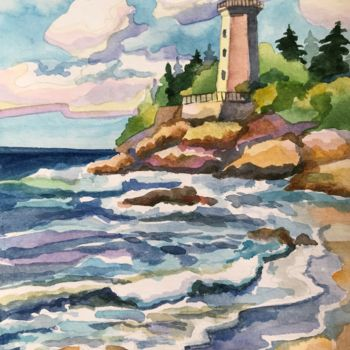 """Painting titled """"LIGHTHOUSE. Waterco…"""" by Leo Schteinberg, Original Art, Watercolor"""