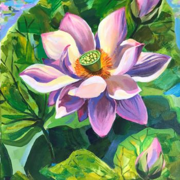"""Painting titled """"LOTUS. Acrylic on c…"""" by Leo Schteinberg, Original Art, Acrylic"""
