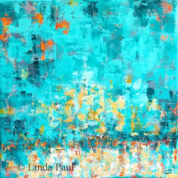 """Painting titled """"Turquoise Too Abstr…"""" by Linda Paul, Original Art, Acrylic"""