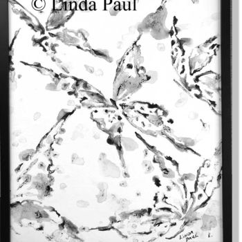 """Painting titled """"Butterfllies #2 bla…"""" by Linda Paul, Original Art, Ink Mounted on Wood Panel"""