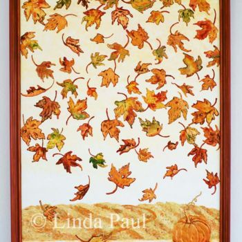 """Painting titled """"Autumn Leaves conte…"""" by Linda Paul, Original Art, Pigments"""