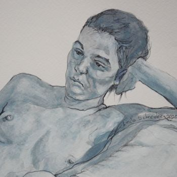 """Drawing titled """"Study in Blue"""" by Linda Schneider, Original Art, Watercolor"""