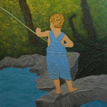 """Painting titled """"Little Angler at Wo…"""" by Liza Wheeler, Original Art, Acrylic"""