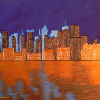 """Painting titled """"Midnight on The Hud…"""" by Liza Wheeler, Original Art, Acrylic"""