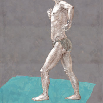 Masculine Drawing, gouache, figurative, artwork by Natalie Levkovska