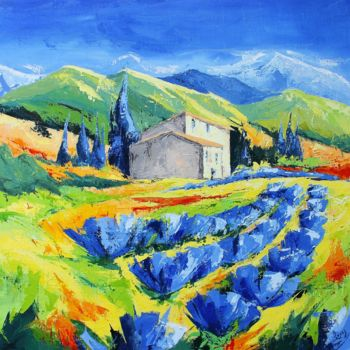 Countryside Painting, acrylic, figurative, artwork by Jean-Luc Lopez