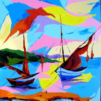 Boat Painting, acrylic, artwork by Jean-Luc Lopez