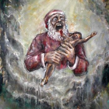 """Painting titled """"Evil Christmas - Go…"""" by Luca Palazzi, Original Art, Oil"""