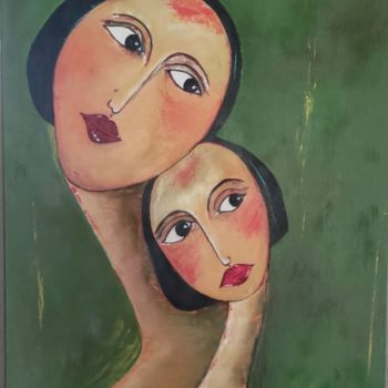 """Painting titled """"Tendresse"""" by Lydia Troussier, Original Art, Oil"""