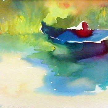 """Painting titled """"green boat"""" by Magdalena Gintowt-Juchniewicz, Original Art, Watercolor"""