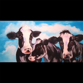 """Painting titled """"Three Black and Whi…"""" by Marcia Baldwin, Original Art, Oil"""