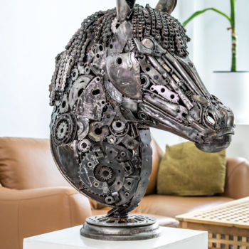 Horse Sculpture, metals, figurative, artwork by Mari9art Metal Art Sculpture