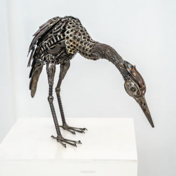 Bird Sculpture, metals, figurative, artwork by Mari9art Metal Art Sculpture