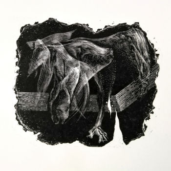 """Printmaking titled """"Astral Projection"""" by Mario Bazel, Original Art, Xylography"""