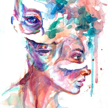"""Painting titled """"Fragments III"""" by Mario Bazel, Original Art, Watercolor"""