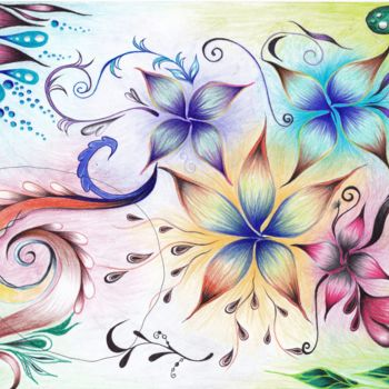 """Drawing titled """"Flowers from Space"""" by Marian Bogatu, Original Art, Pencil"""