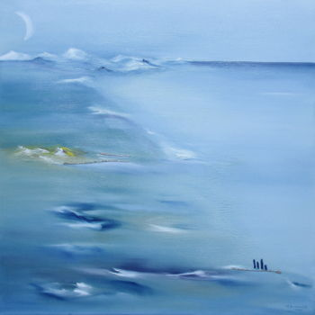 Beach Painting, oil, impressionism, artwork by Martial Dumoulin