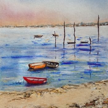 """Painting titled """"calme"""" by Martine Romainville, Original Art, Pastel"""